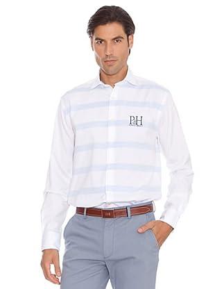 PEDRO DEL HIERRO Camisa Raya Ancha Horizontal (azul / blanco)