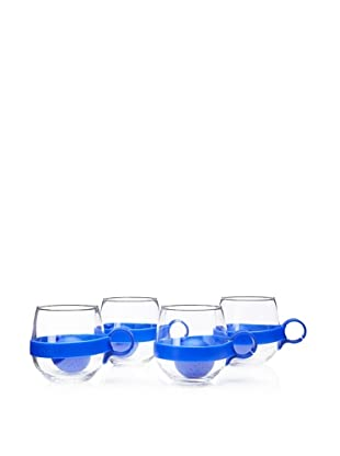 AdNArt Set of 4 Glass Teaball Mugs with Silicone Infusers, Blue, 16.75-Oz.
