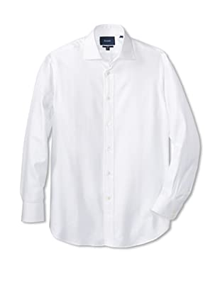 Façonnable Men's Herringbone Club Dress Shirt (White)