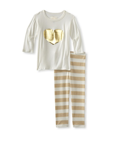 Ivy & Olivia Girl's Heart Tee and Legging Set (Gold Stripe)