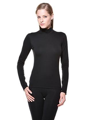 Cotonella Camiseta Mock Cuello Alto (negro)