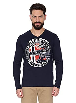 Geographical Norway Camiseta Manga Larga ML Jaroda Ls Men (Azul marino)