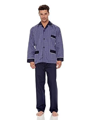 Plajol Pijama Caballero Cuadro Combinado (Marino)