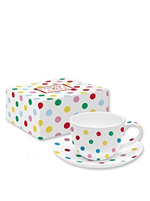 Easy Life Design Tazza da Tè con Piatto in Porcellana Bone China Happy Pois (Multicolore)