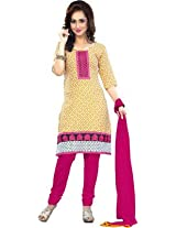 vaamsi embroidered printed dress material (Paro1013_Yellow_Free Size)