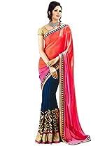 Janasya women's Pink color chiffon sareee