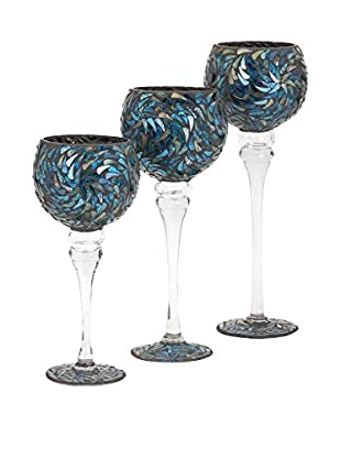 IMAX Peacock Mosaic Votive Holders - Set Of 3, 4.75x4.75x12