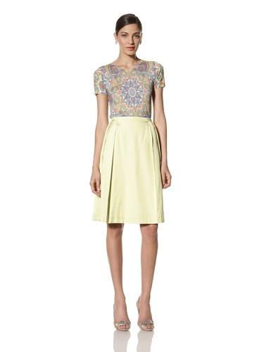 Jonathan Saunders Women's Harmont Stitched Polka Dot Pleat Skirt (Steel/Sherbet)