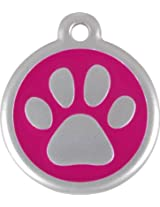 Red Dingo QR Collar Tag, Pawprint, Small, Hot Pink