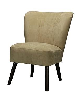 Artistic Mid Century-Style Chair, Dark Mahogany/Cream