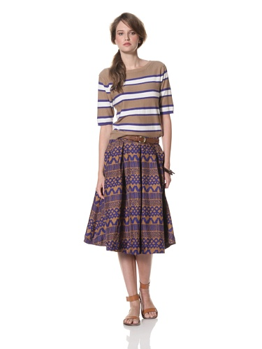 Whit Women's Striped Top (Brown/Cobalt)