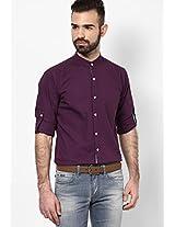 Light Purple Colour Mandarin Collar Solid Full Sleeve Shirt