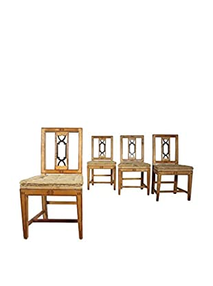 Set of 4 Deconstructed Dining Chairs, Brown/Black
