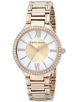 Anne Klein Womens AK/1794MPRG Swarovski Crystal-Accented Rose Gold-Tone Bracelet Watch