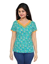 Floral Print Ladies Wear Cotton Kurta Size XS Top Ethnic Style Casual Wear