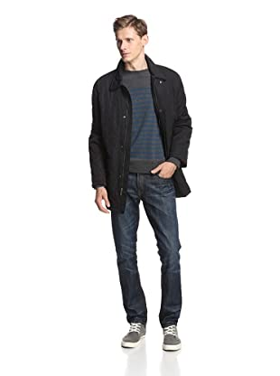 Alex Cannon Men's Quilted Barn Coat with Fleece Lining (Black)