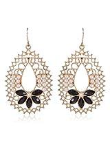 Trendy Baubles Gold Filgree With Black Flower Dangler For Women