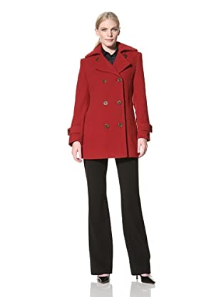Jones New York Women's Peacoat with Quilted Detail (Red)