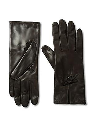 Portolano Women's Leather Gloves with Bow Tie (Teak)