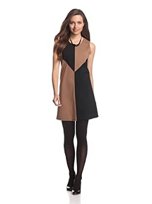 JB by Julie Brown Women's Colorblock Shift Dress (Tan/Black)