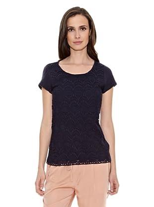 Cortefiel Camiseta Camiset Encaje Escote Barc (Azul Marino)