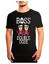 Bushirt Men's Round Neck Cotton T-Shirt (DN00131 - Boss Ka Double Dose_Black_XX-Large)