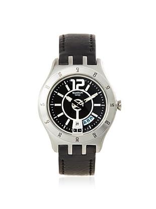 Swatch Men's YTS400 Black Leather Watch