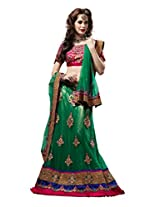 Anvi Creations Bridal Embroidered Net Lehenga Choli (Green_Free Size)