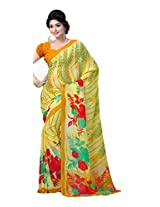 ANSS Elegant Faux Georgette Saree with Floral Print - Yellow