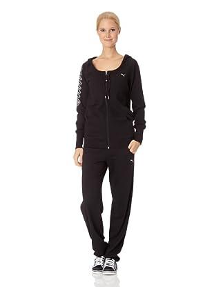 Puma Damen Sweatshirt Pumascript Fullzip Hoodie (Black)