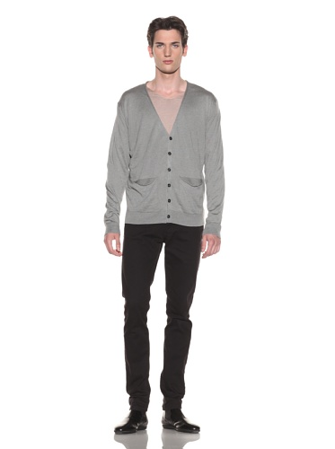 Halston Men's Basic Cardigan (Medium Grey)