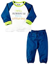 Infant Boys Full Sleeves Tee with Tracks Set, Multi Colour (0-3 Months)