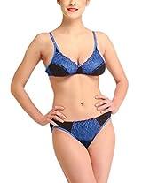 Glus Women's Net Laced Bridal Bra And Bikini Set , Cup Size - B (32, Blue)