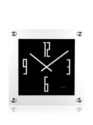 NeXtime Steel Square Wall Clock (Black/Silver)