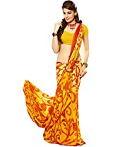 Pagli yellow with red jakard crepe fabric printed saree