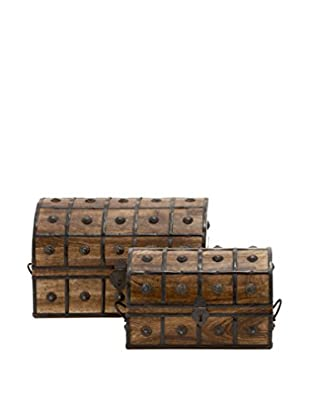 Set of 2 Wooden Metal Boxes, Brown
