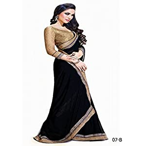 Jai Ho black Bollywood Designer Saree-Frinkytown