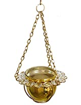 DollsofIndia Metal Golden Bowl with White Crystal Hanging Candle Holder - Metal and Acrylic