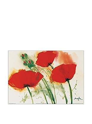 ArtopWeb Panel de Madera Marthe Coquelicots Au Vent I 100x70 cm