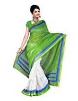 Fabdeal Branded Indian Women Sari Printed Peacock Green (HMR106564ARM)