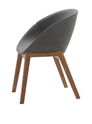 Domitalia Coquille Chair, Dark Grey/Dark Wood
