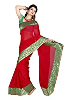 De Marca Red Chiffon M246 Saree