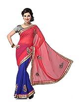 AISHA Solid Fashion Yes Georgette Multicolor Sari