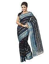 B3Fashion Traditional Bengal Handloom Cotton Tant/Tangail Black coloured saree