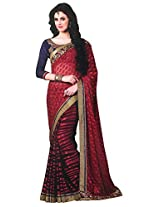 Brasso Red & Blue Colour Saree for Party Wear