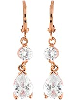 Coral by POKA Non-Precious Metal Gold, White and Crystal Dangle & Drop Earrings for Women (POKA_J_097)