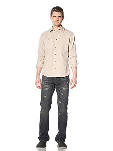 Artisan de Luxe Men's Cheyenne Button-Front Shirt (Khaki Fade)