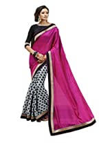 Status Pink & Grey Color Printed Saree On Bhagalpuri Silk Fabric.
