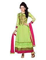 Clickedia Womens Faux Georgette Anarkali Dress Material (Semi-Stitched 36002 _Green _Free Size)