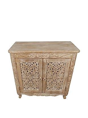 Moti Carver 2-Door Cabinet, White Antique